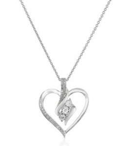 5. Amazon Collection Sterling Silver Diamond Accent Heart Pendant Necklace