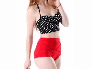 1. HDE Women Swimsuit Vintage 50s Rockabilly High Waist Set