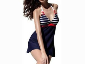 10. AM CLOTHES Womens Navy Stripe One Piece Swimsuit with Falsies