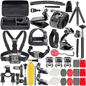 Compatible with The GoPro HERO8 4K Digital Action Camera Navitech 60-in-1 Action Camera Accessories Combo Kit with EVA Case