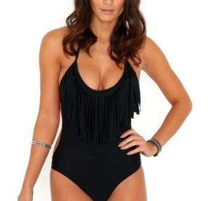 5. Hanson V28 Padded One Piece Fringed Swimsuit Swimwear Monokini