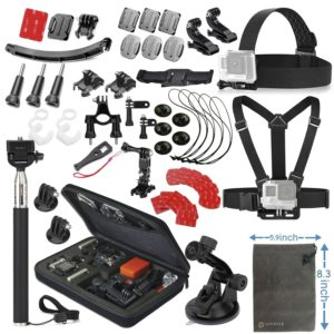 Navitech 50-in-1 Action Camera Accessories Combo Kit with EVA Case Compatible with The Rollei 6s Plus Action Camera