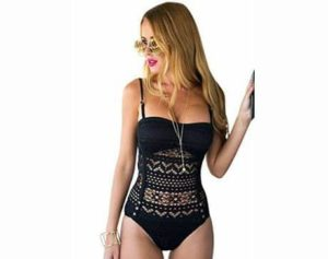 8. Lookbook Store Women's Crochet Lace Halter Straps Swimsuits Bathing Suit