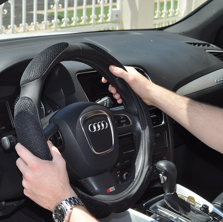R Steering Wheel Cover SODIAL Cars Antislip Plush Stretchy Shield Case Steering Wheel Cover Black
