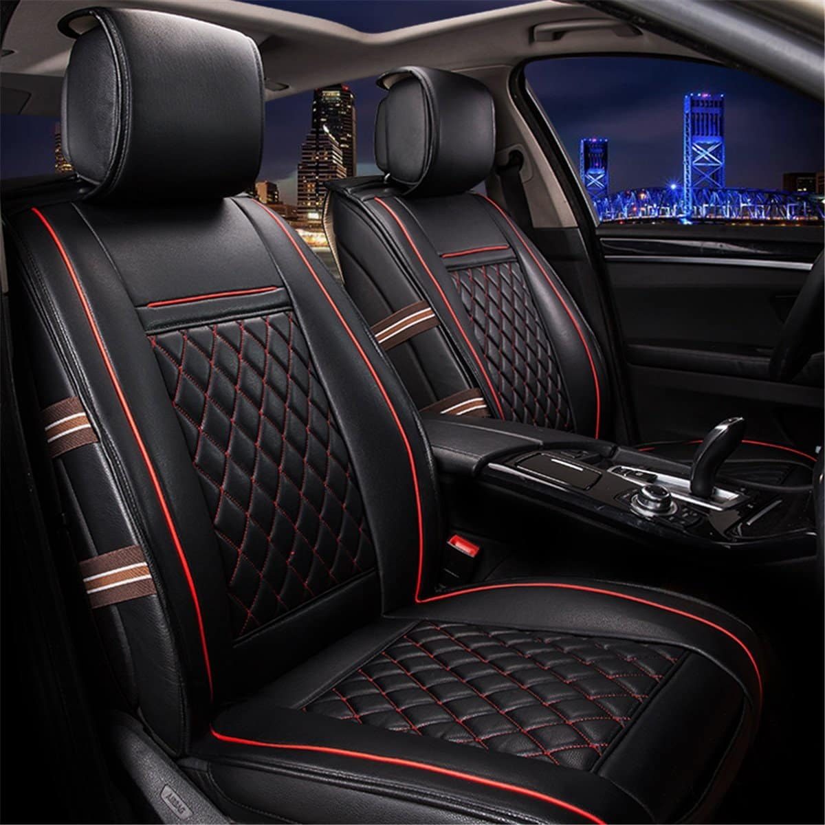 Kitabetty Universal Waterproof Car Seat Cover Knitted Fabric Bucket Seat Cover Car Interior Seat Cover Fit Most Car Truck SUV or Van