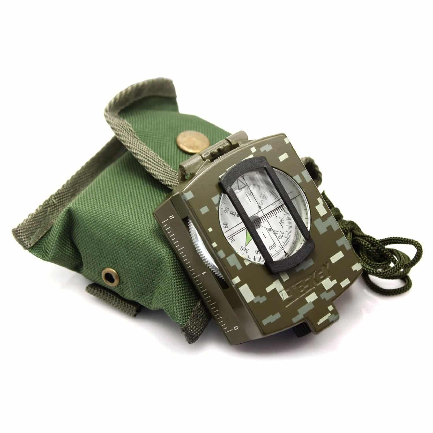 Waterproof Military Lensatic Sighting Compass with Magnifying Glass Mapping Ruler Reading Scale Distance Calculator for Navigation Hiking Camping Adventure