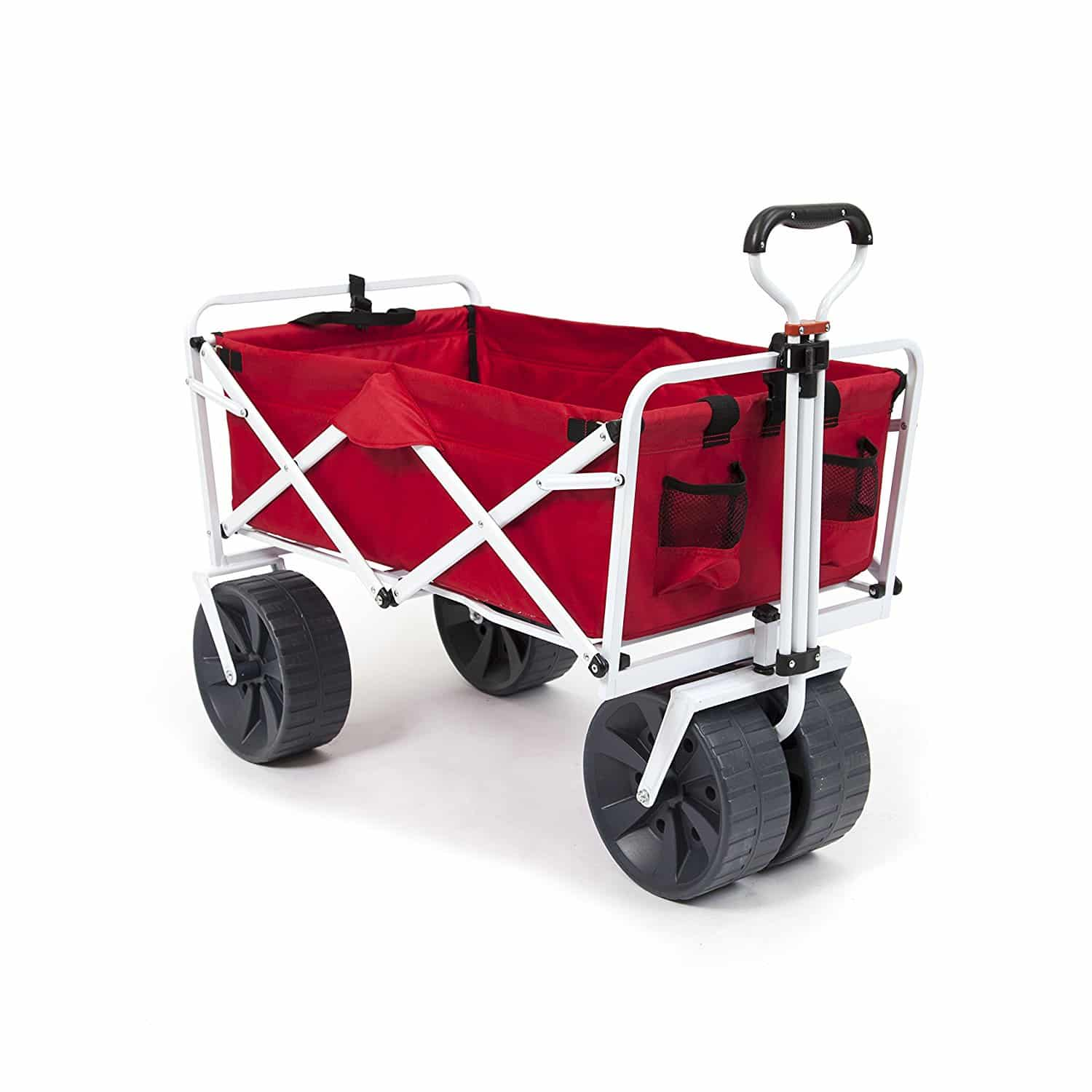 Blue Mac Sports Collapsible Outdoor Utility Wagon with Folding Table and Drink Holders with Straps